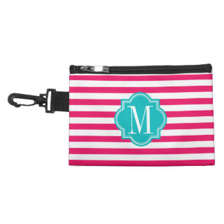Hot Pink Stripes with Teal Monogram Accessories Bags