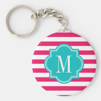 Hot Pink Stripes with Teal Monogram Keychain