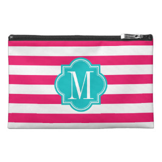 Hot Pink Stripes with Teal Monogram Travel Accessories Bag