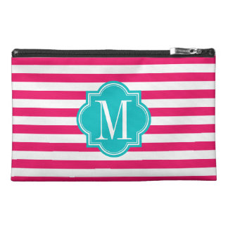 Hot Pink Stripes with Teal Monogram Travel Accessory Bags