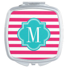 Hot Pink Stripes With Teal Monogram Vanity Mirror at Zazzle