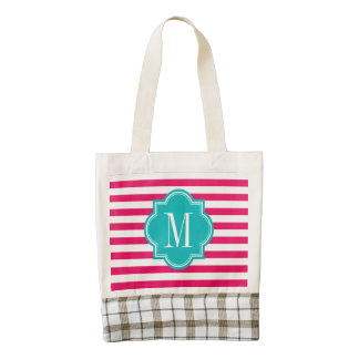 Hot Pink Stripes with Teal Monogram Zazzle HEART Tote Bag