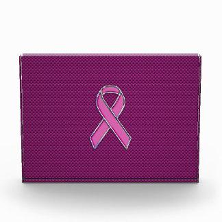 Hot Pink Style Ribbon Awareness Carbon Fiber Acrylic Award