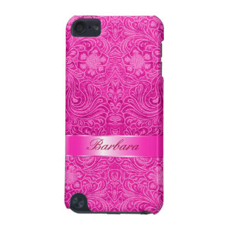 Hot Pink Suede Leather Look Floral Design Monogram iPod Touch 5G Case