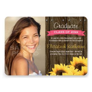 Hot Pink Sunflower Graduation Announcement