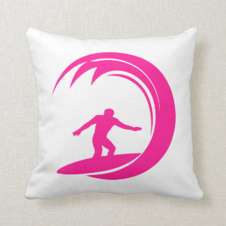 Hot Pink Surfing Throw Pillow