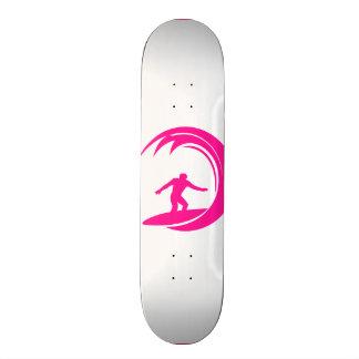 Hot Pink Surfing Skateboard Deck