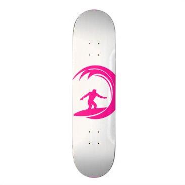 Beach Themed Hot Pink Surfing Skateboard Deck