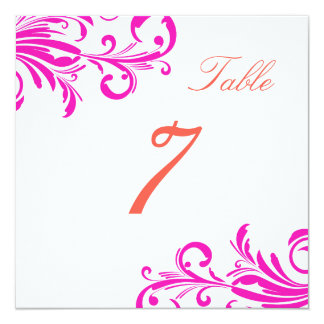 Hot Pink Swanky Swirls Table 7 Invitation