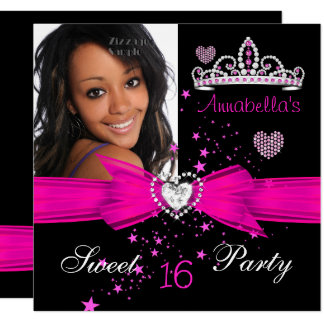 Hot Pink Sweet 16 Birthday Diamond Tiara Photo Card