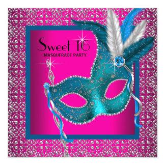 Hot Pink Sweet 16 Masquerade Party Card