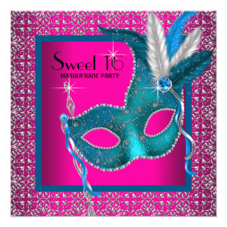 Hot Pink Sweet 16 Masquerade Party Custom Invitations