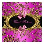 Hot Pink Sweet Sixteen 16 Damask Gold Black Invites