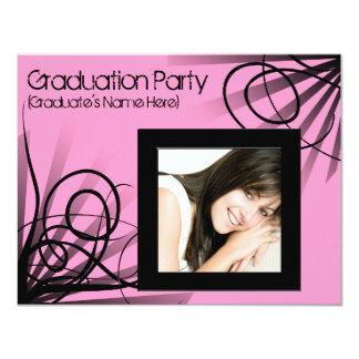Hot Pink Swirl Graduation Party Invitation