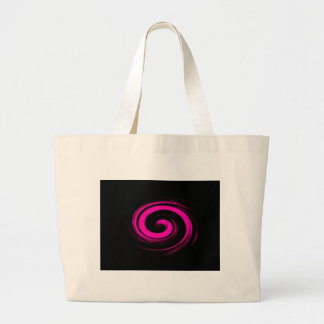 Hot Pink Swirl on Black Abstract Tote Bag