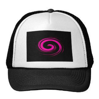 Hot Pink Swirl on Black Abstract Trucker Hat