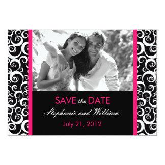 "Hot Pink Swirl Photo Save the Date 5"" X 7"" Invitation Card"