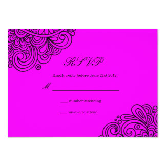 Hot Pink Swirl Wedding RSVP Card