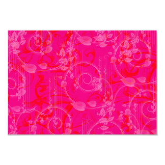 Hot Pink Swirls and Leaves Graphic Design Art Card