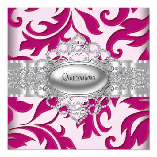 Hot Pink Swirls Quinceanera Invitations