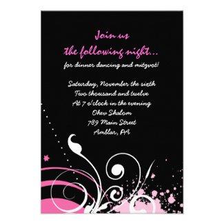 HOT PINK SWIRLS & STARS Bat Mitzvah Party Card