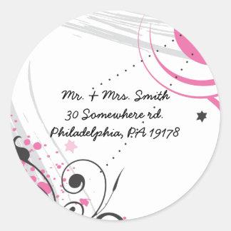 HOT PINK SWIRLS & STARS Sticker Label Seal