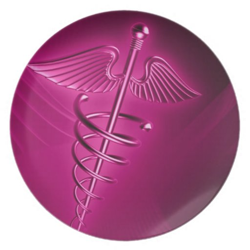HOT PINK SYMBOL 3d science medical abstract health Plates