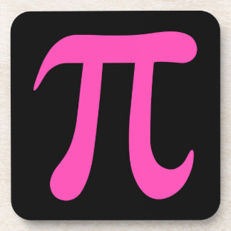 Hot pink symbol on black coaster
