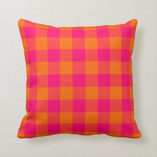 Hot Pink Tangerine Gingham American MoJo Pillow