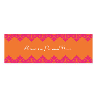 Hot Pink & Tangerine Lace Skinny Card Double-Sided Mini Business Cards (Pack Of 20)