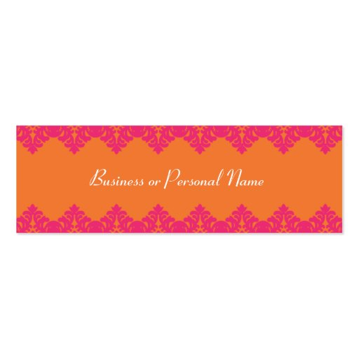 Hot Pink & Tangerine Lace Skinny Card Business Card Template