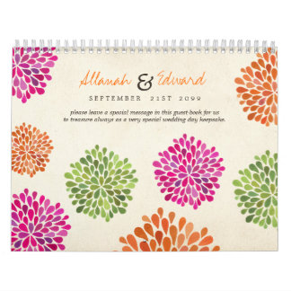 Hot Pink Tangerine Lime Floral Wedding GuestBook Calendars