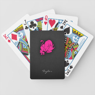 Hot Pink Taurus Bull Zodiac Sign Bicycle Playing Cards