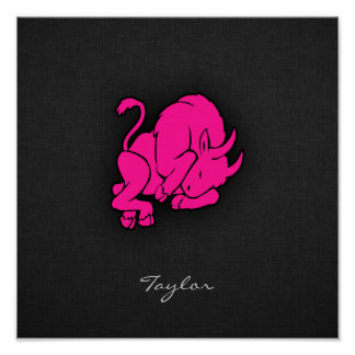 Hot Pink Taurus Bull Zodiac Sign Poster