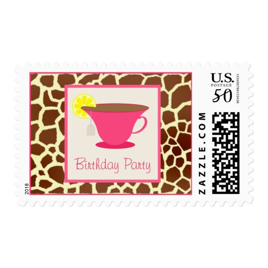 Hot Pink Teacup / Giraffe Birthday Party Postage