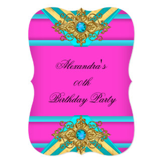 Hot Pink Teal Birthday Party Jewel Gold Striped Card