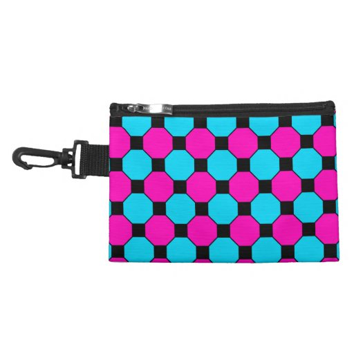 Hot Pink Teal Blue Black Squares Hexagons Pattern Accessories Bag