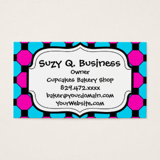 Hot Pink Teal Blue Black Squares Hexagons Pattern Business Card