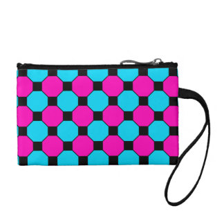 Hot Pink Teal Blue Black Squares Hexagons Pattern Coin Purse