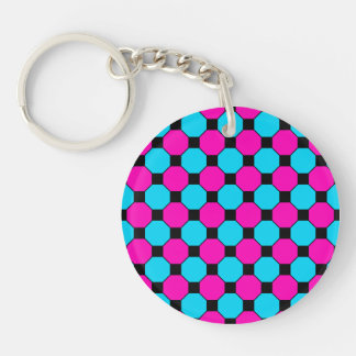 Hot Pink Teal Blue Black Squares Hexagons Pattern Keychain