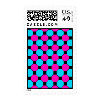 Hot Pink Teal Blue Black Squares Hexagons Pattern Stamps