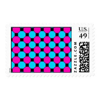 Hot Pink Teal Blue Black Squares Hexagons Pattern Postage Stamps