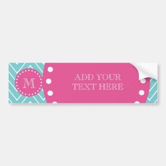 Hot Pink, Teal Blue Chevron | Your Monogram Bumper Sticker