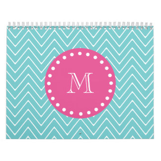 Hot Pink, Teal Blue Chevron | Your Monogram Calendar