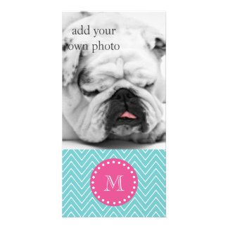 Hot Pink, Teal Blue Chevron | Your Monogram Card