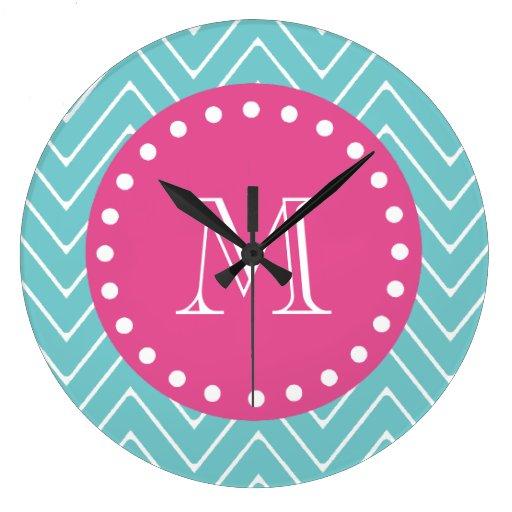 Hot Pink, Teal Blue Chevron | Your Monogram Clock