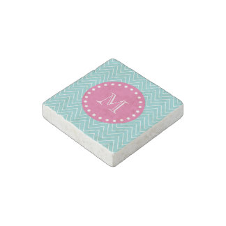 Hot Pink, Teal Blue Chevron   Your Monogram Stone Magnet