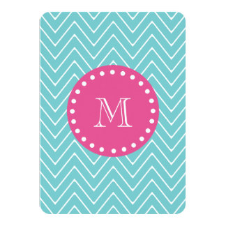 "Hot Pink, Teal Blue Chevron | Your Monogram 4.5"" X 6.25"" Invitation Card"