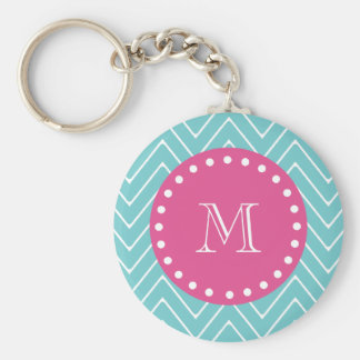 Hot Pink, Teal Blue Chevron | Your Monogram Keychain