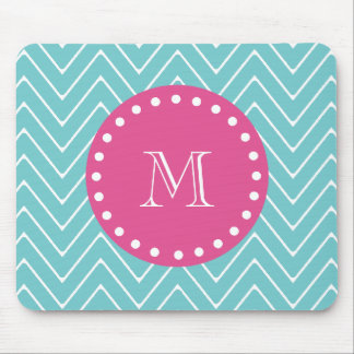 Hot Pink, Teal Blue Chevron | Your Monogram Mouse Pad